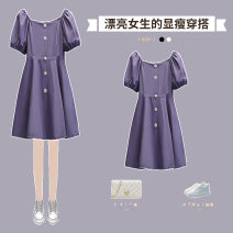 Dress Summer 2021 Purple dress green dress orange dress M L XL 2XL 3XL 4XL Mid length dress singleton  Short sleeve commute One word collar High waist Solid color other A-line skirt routine Others 18-24 years old Type A Hin coast Korean version Button XHA-3F064-1402 More than 95% other Other 100%