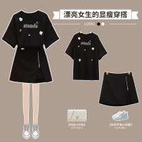 Women's large Summer 2021 Black two piece suit Large L Large XL Large 2XL large 3XL large 4XL Other oversize styles Two piece set commute easy thin Socket Short sleeve Solid color Korean version Crew neck routine other Three dimensional cutting routine XHA-3F024-6225 Hin coast 18-24 years old shorts