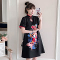 cheongsam Summer 2021 4XL M L XL 2XL 3XL Black Guochao cheongsam dress Short sleeve Short cheongsam Retro No slits daily Ruyi lapel Animal design 18-25 years old Piping XHA-4F033-5022 Hin coast cotton Cotton 96% other 4% Pure e-commerce (online only) 96% and above