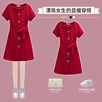 Dress / evening wear wedding M L XL 2XL 3XL 4XL Red dress black dress Sweet longuette High waist Summer 2021 A-line skirt One shoulder Deep V style 18-25 years old XHA-3F020-1998 Short sleeve Solid color Hin coast routine Other 100% Pure e-commerce (online only) Cotton 71% - 80%