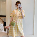 cheongsam Summer 2021 M L XL 2XL 3XL 4XL Yellow Plaid cheongsam dress Short sleeve Short cheongsam ethnic style No slits daily Round lapel lattice 18-25 years old Order drill XHA-2F023-8895 Hin coast other Other 100% Pure e-commerce (online only)