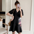 cheongsam Summer 2021 M L XL 2XL 3XL 4XL Black Guochao cheongsam dress Short sleeve Short cheongsam grace No slits daily Solid color 18-25 years old Piping XHA-2F023-823 Hin coast other Other 100% Pure e-commerce (online only)