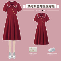 Dress / evening wear wedding L XL 2XL 3XL 4XL Red dress black dress Sweet longuette High waist Summer 2021 Skirt hem square neck Bandage 18-25 years old XHA-4F093-3669 Short sleeve Solid color Hin coast routine Other 100% Pure e-commerce (online only) Cotton 71% - 80%