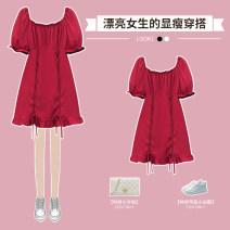 Dress / evening wear Wedding routine M L XL 2XL 3XL 4XL Sweet Short skirt High waist Summer 2021 Fluffy skirt 18-25 years old Short sleeve Solid color Hin coast puff sleeve Other 100% Pure e-commerce (online only)