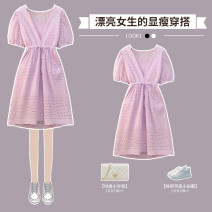 Dress Summer 2021 Purple super Fairy Dress L XL 2XL 3XL 4XL longuette singleton  Short sleeve commute V-neck High waist Solid color Socket Princess Dress routine 25-29 years old Hin coast XHA-3F099-3332 More than 95% other Other 100% Pure e-commerce (online only)