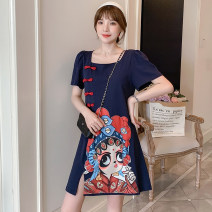 cheongsam Summer 2021 M L XL 2XL 3XL 4XL Blue Guochao Qipao Short sleeve Short cheongsam court No slits daily Straight front Decor 18-25 years old Piping XHA-2F023-8883 Hin coast other Other 100% Pure e-commerce (online only)