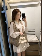 Vest Autumn 2020 Coffee vest, white shirt and skirt, coffee Vest + white shirt and skirt S,M,L routine Crew neck lattice Single breasted 9-6-7# Other / other 96% and above other