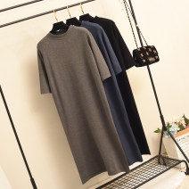 Dress Spring 2021 Black blue gray coffee S M L XL 2XL 3XL longuette singleton  elbow sleeve commute stand collar Loose waist Solid color Socket routine Others 35-39 years old Type H hthk Korean version MY339 More than 95% knitting other Other 100% Pure e-commerce (online only)