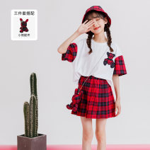 suit Si beixiu 110cm,120cm,130cm,140cm,150cm,160cm,170cm female summer college Short sleeve + skirt 3 pieces routine There are models in the real shooting Socket nothing lattice other children Expression of love other Cotton 95% polyurethane elastic fiber (spandex) 5% Chinese Mainland Guangzhou City