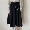 skirt Spring 2021 S M L Off white black longuette commute High waist A-line skirt Solid color Type A 25-29 years old AW022601 More than 95% Auspicious kiss other Frenulum Other 100%