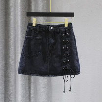 skirt Autumn 2020 S M L XL black Short skirt Versatile High waist A-line skirt Solid color Type A 25-29 years old 91% (inclusive) - 95% (inclusive) Denim Forgetful words cotton Pocket lace up zipper Cotton 95% other 5% Pure e-commerce (online only) 121g / m ^ 2 (including) - 140g / m ^ 2 (including)