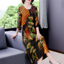 Dress Summer 2021 Decor L XL 2XL 3XL 4XL Mid length dress singleton  elbow sleeve commute Crew neck Loose waist Decor other other routine Others 40-49 years old Mu Yixin Retro Button More than 95% other Other 100% Pure e-commerce (online only)