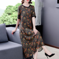 Dress Spring 2021 Graph color L XL 2XL 3XL 4XL Mid length dress singleton  Short sleeve Crew neck routine 40-49 years old Mu Yixin XBH3012 More than 95% other Other 100% Pure e-commerce (online only)