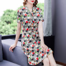 Dress Summer 2021 Decor L XL 2XL 3XL 4XL Mid length dress singleton  Short sleeve commute V-neck High waist Decor Socket A-line skirt routine Hanging neck style 35-39 years old Type A Mu Yixin Retro NEJ0855 More than 95% other Other 100% Pure e-commerce (online only)