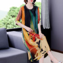 Dress Summer 2021 Decor L XL 2XL 3XL 4XL Mid length dress singleton  Short sleeve commute Crew neck Loose waist Decor other other routine Others 40-49 years old Mu Yixin Retro printing NEJ9926 More than 95% other Other 100% Pure e-commerce (online only)