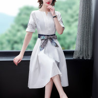 Dress Summer 2021 white S M L XL 2XL 3XL Middle-skirt singleton  Short sleeve commute V-neck High waist A-line skirt routine 35-39 years old Mu Yixin lady NEJ5962 More than 95% other Other 100% Pure e-commerce (online only)