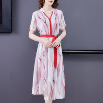 Middle aged and old women's wear Summer 2021 Pink Green XL XXL XXXL fashion Dress easy singleton  Decor 40-49 years old Socket thin V-neck Medium length routine NRJ5469 Mu Yixin Bandage other Other 100% 96% and above Pure e-commerce (online only) zipper longuette Chiffon Ruffle Skirt