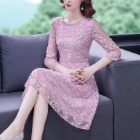 Dress Summer 2021 Pink Purple S M L XL 2XL Middle-skirt singleton  three quarter sleeve commute Crew neck middle-waisted Solid color zipper routine 35-39 years old Type A Mu Yixin Ol style Lace XBH8233 More than 95% Lace other Other 100% Pure e-commerce (online only)