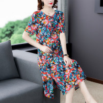 Dress Summer 2021 Decor M L XL 2XL 3XL longuette singleton  Short sleeve commute Crew neck High waist Decor Socket A-line skirt routine Others 35-39 years old Type A Mu Yixin lady printing NEJ5362 More than 95% other Other 100% Pure e-commerce (online only)