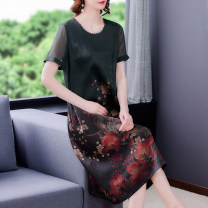 Dress Summer 2021 Mid length dress singleton  Short sleeve commute Crew neck Loose waist Decor Condom routine 40-49 years old Type A Mu Yixin Korean version printing NRJ9577 51% (inclusive) - 70% (inclusive) Silk and satin silk Mulberry silk 60% others 40% Pure e-commerce (online sales only)