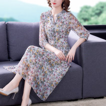 Dress Summer 2021 Decor S M L XL 2XL 3XL Mid length dress singleton  three quarter sleeve commute V-neck middle-waisted Decor Socket A-line skirt routine Others 30-34 years old Type A Mu Yixin lady tassels NEJ2127 More than 95% other Other 100% Pure e-commerce (online only)