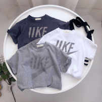 T-shirt Dark grey, white, flower grey 3xk ace 90 for height 80-85100 for height 90-95110 for height 100-105120 for height 110-115130 for height 120-125140 for height 130-135150 for height 140-145 female spring and autumn leisure time cotton Solid color Class A 3 months, 2 years old Chinese Mainland