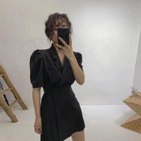 Dress Summer 2021 Khaki green black skirt lotus skirt S M L XL Mid length dress singleton  Short sleeve commute tailored collar High waist Solid color Socket A-line skirt puff sleeve Others 18-24 years old Tong Xinyu Korean version More than 95% other other Other 100% Pure e-commerce (online only)