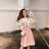 Fashion suit Spring 2021 XS S M L XL Apricot T-shirt with pink suspender skirt apricot T-shirt with pink suspender skirt Shandy man XDM181# 91% (inclusive) - 95% (inclusive) cotton Cotton 95% other 5% Pure e-commerce (online only)