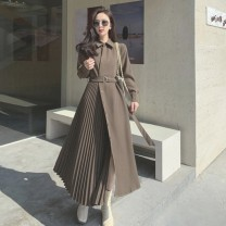 Women's large Spring 2021 Black, brown S,M,L. singleton  commute moderate Long sleeves Solid color Retro Polo collar Medium length other Three dimensional cutting routine 18-24 years old Asymmetry 81% (inclusive) - 90% (inclusive) longuette Irregular skirt