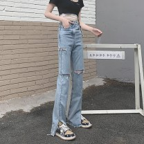 Women's large Summer 2021 blue S,M,L. singleton  commute moderate Solid color Retro other 18-24 years old hole 81% (inclusive) - 90% (inclusive) trousers