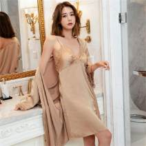 Pajamas / housewear set female Xianweimi XL,L,M Brown, red, pink, yellow, dark blue Iced silk camisole luxurious summer Thin money V-neck youth 2 pieces More than 95% other