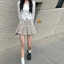 skirt Summer 2021 XS S M L khaki Short skirt Retro High waist Pleated skirt Broken flowers Type A 18-24 years old HYHDJ091 More than 95% The secret of Hua Yan other Bow zipper print Other 100% Pure e-commerce (online only)