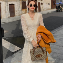 Dress Autumn 2020 Off white S M L XL Mid length dress singleton  Long sleeves commute V-neck middle-waisted Solid color Socket A-line skirt bishop sleeve Others 18-24 years old Type A Elegant welcome Korean version Lace More than 95% Lace other Other 100% Pure e-commerce (online only)