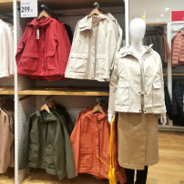 short coat Spring 2021 S,M,L,XL Navy, coral, orange, light beige, olive Long sleeves routine routine singleton  Straight cylinder commute routine Hood zipper Solid color 18-24 years old 81% (inclusive) - 90% (inclusive) pocket cotton