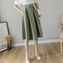 skirt Spring 2021 S,M,L,XL,2XL Green, blue, black Mid length dress commute High waist A-line skirt Solid color Type A 18-24 years old JJ Korean version