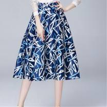 skirt Summer of 2018 S,XL,2XL,L,M Black, blue, dark blue, green, black and white, red and white longuette Versatile High waist Fluffy skirt Decor Type A A025 Silk and satin Zipper, print, 3D