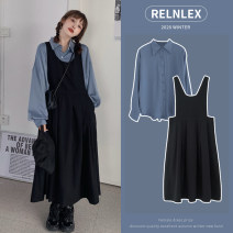 Women's large Autumn 2020 Back skirt shirt + back skirt blue shirt + coffee back skirt white shirt + back skirt M [recommended 85-100 kg] l [recommended 100-115 kg] XL [recommended 115-135 kg] 2XL [recommended 135-155 kg] 3XL [recommended 155-175 kg] 4XL [recommended 175-200 kg] Dress singleton  easy