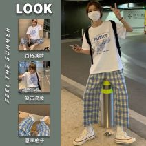 Women's large Summer 2021 T-shirt + wide leg pants Dress Two piece set commute easy thin Conjoined Short sleeve letter Korean version Crew neck routine polyester printing and dyeing routine 466df RELNLEX 18-24 years old Other 100% Pure e-commerce (online only) Ninth pants