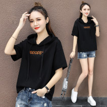 Sweater / sweater Summer 2021 M L XL 2XL Short sleeve have cash less than that is registered in the accounts Socket singleton  Thin money Hood easy commute routine letter 25-29 years old 71% (inclusive) - 80% (inclusive) Shang Yilian Korean version cotton Embroidery Drawstring