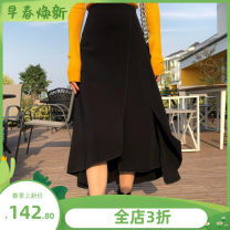 skirt Summer 2020 XS,S,M,L,XL,XXL Mid length dress Versatile High waist Solid color Type A 18-24 years old 81% (inclusive) - 90% (inclusive) hemp