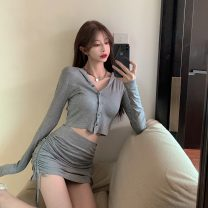 shirt other 96% and above Summer 2021 Short sleeve Original design Regular payment stand collar Solid color 18-24 years old 6145# Chaoyayan Other 100% Pure e-commerce (online sales only) S M L Grey coat grey skirt black coat black skirt