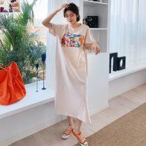 Dress Summer 2020 Apricot [876], black [876], white [862], pink [862], blue [882], white [884], black [884], white [891], gray [891], blue [893], black [894], apricot [894] L,XL,2XL longuette singleton  Short sleeve commute Crew neck Loose waist Cartoon animation Socket One pace skirt routine Type H