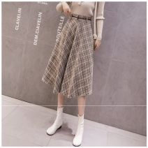 skirt Winter 2020 One size fits 80 - 135 Jin Coffee (for belt), grey (for belt) Mid length dress commute High waist A-line skirt lattice Type A 18-24 years old LLH30301625 More than 95% Wool Other / other other Lace up, stitching Korean version
