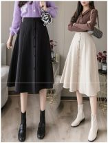 skirt Autumn 2020 S,M,L,XL,2XL Black, khaki, apricot Mid length dress commute High waist A-line skirt Solid color Type A 18-24 years old ANNA-2031085-98 91% (inclusive) - 95% (inclusive) Other / other polyester fiber Button Korean version