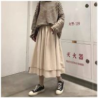 skirt Winter of 2019 Average size Khaki, black Mid length dress commute High waist other Solid color More than 95% other Other / other other Korean version