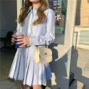 Dress Spring 2021 S M L Short skirt Two piece set Long sleeves commute Polo collar High waist Solid color Socket Pleated skirt shirt sleeve Others 18-24 years old Type A Purple bulb Korean version Pleats More than 95% other Other 100% Pure e-commerce (online only)