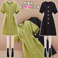 Women's large Spring 2021 Green black Large L Large XL Large XXL large XXL large XXL large XXXL Dress singleton  commute easy moderate Socket Short sleeve Solid color lady V-neck Medium length routine A2007 Fat Manny 25-29 years old Medium length Other 100% Pure e-commerce (online only) Lantern skirt