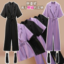 Women's large Spring 2021 Purple (long) black (long) Purple (short) black (short) Large L Large XL Large XXL large XXL large XXL large XXXL Other oversize styles singleton  commute easy thin Socket Short sleeve V-neck routine pagoda sleeve A2004 Fat Manny 25-29 years old belt Other 100% trousers