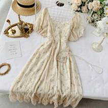 Dress Summer 2020 Apricot, apricot green S, M longuette singleton  Short sleeve commute Crew neck High waist Decor Socket A-line skirt puff sleeve Others 18-24 years old Type A Other / other Korean version Ruffles, lace, prints 30% and below other other