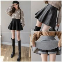 skirt Autumn 2020 S,M,L,XL,XXL Black leather skirt, black tweed, grey tweed Short skirt High waist Pleated skirt Solid color Type A 25-29 years old ZX0091201A More than 95% Other / other other
